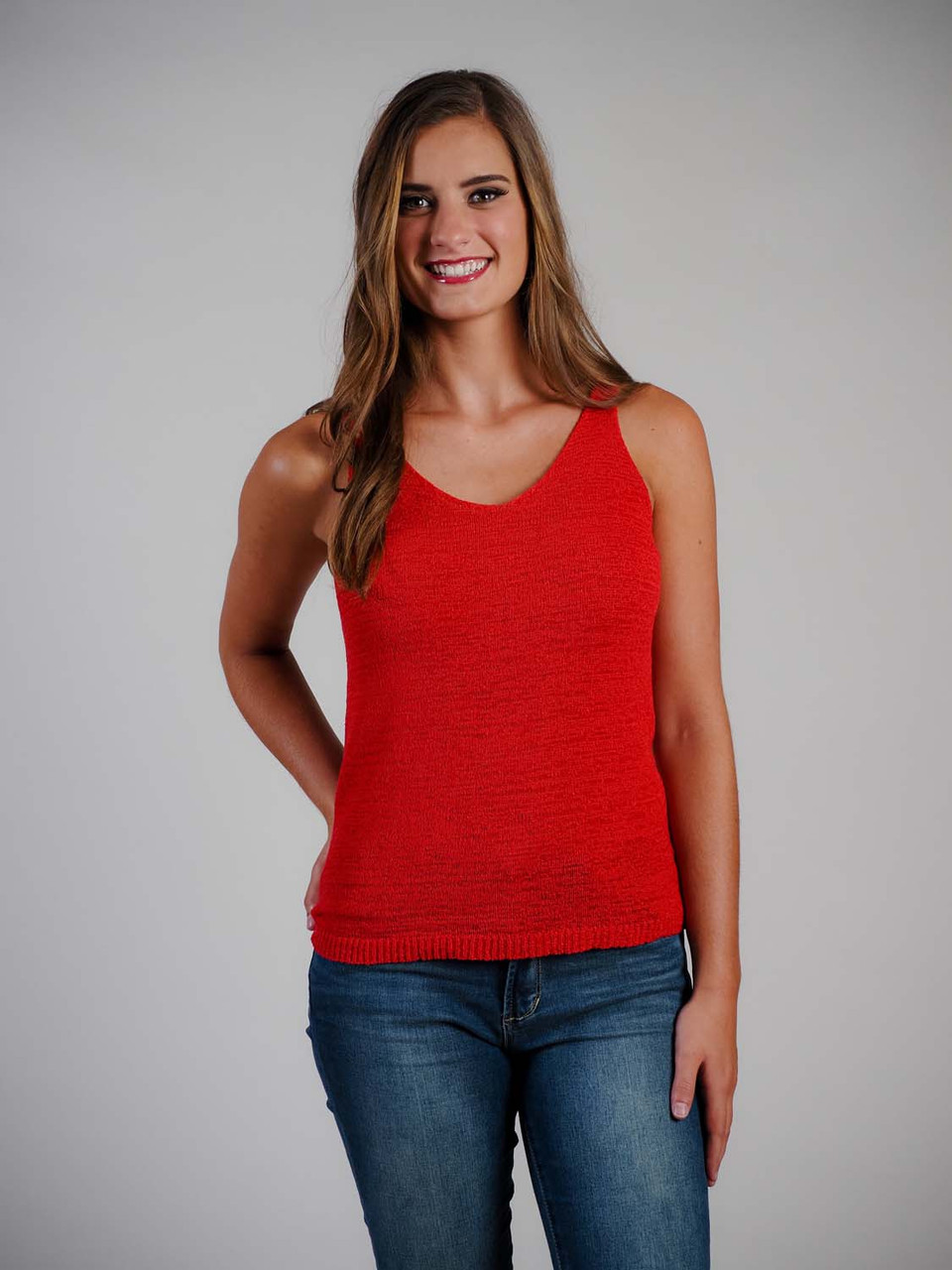 red sleeveless knit tank top