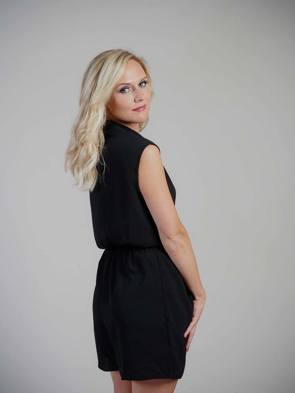 black jumpsuit v-neck side tie  Molly Bracken