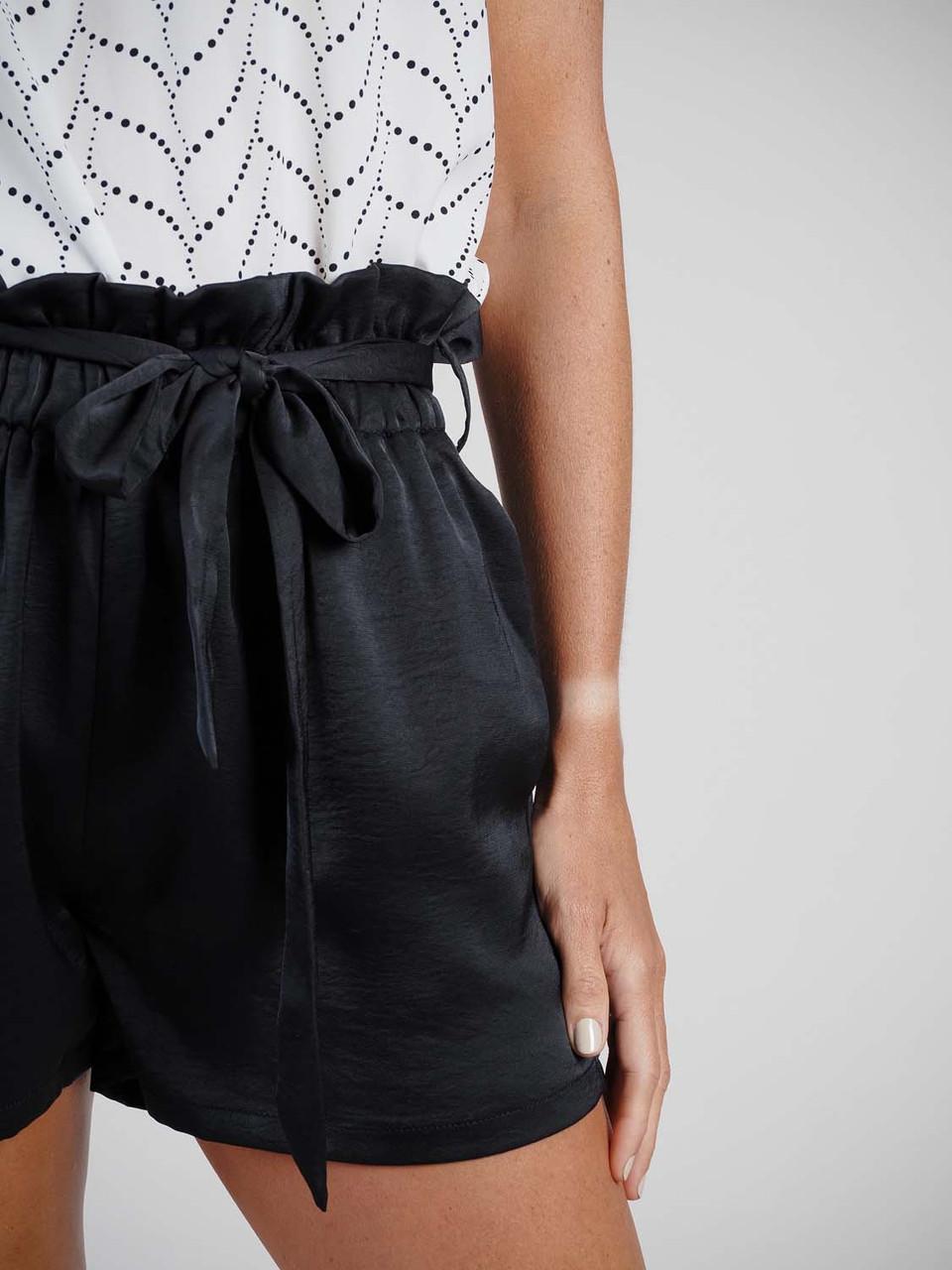 black satin shorts with tie waist Molly Bracken