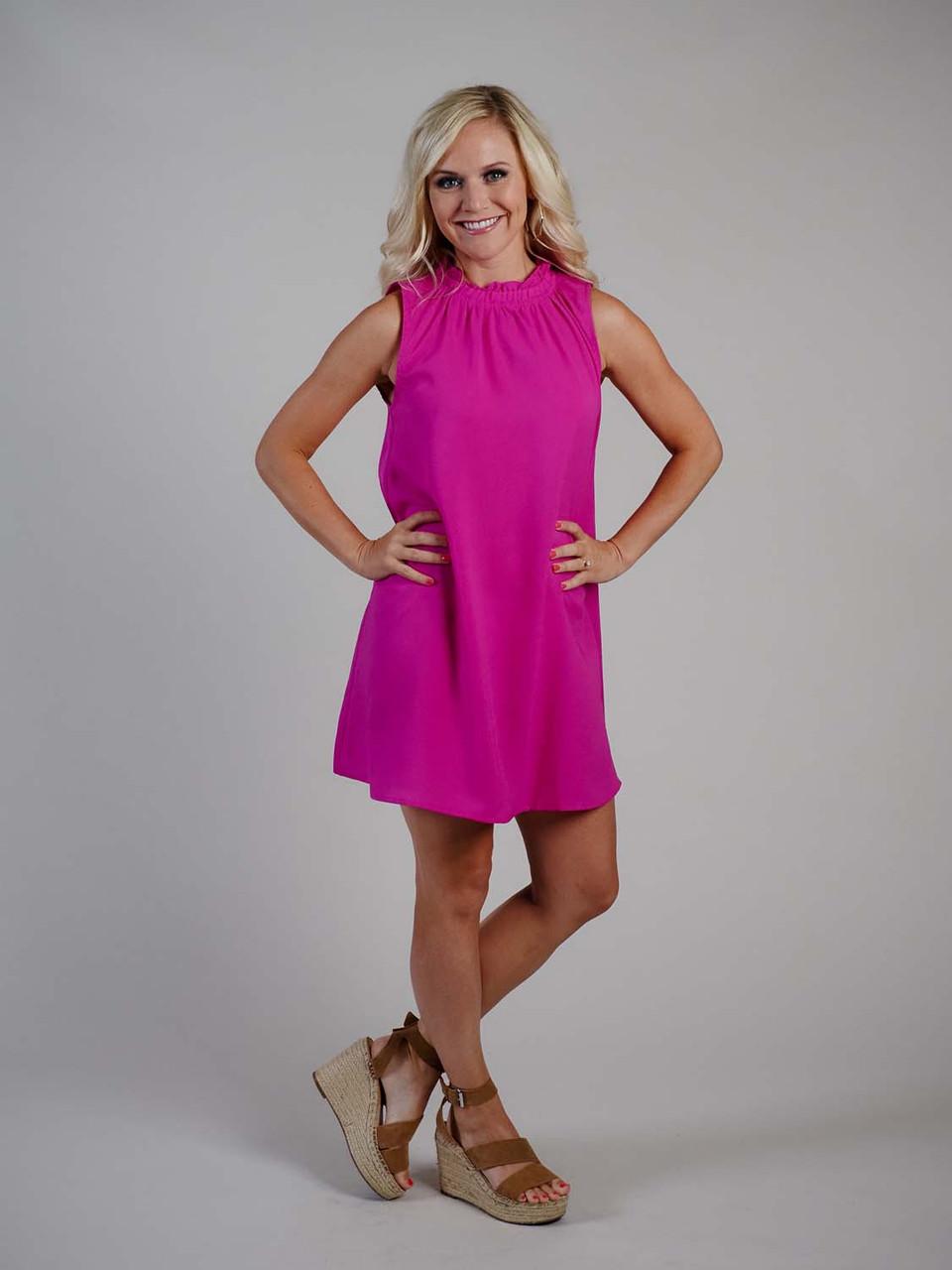 Magenta ruffle neck mini dress