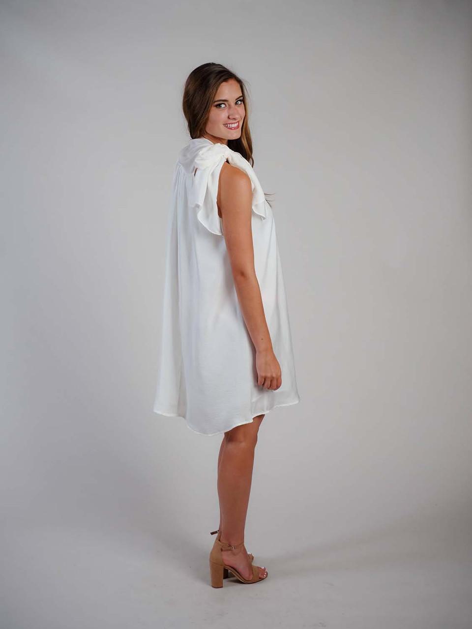 ivory white dress with large neck bow