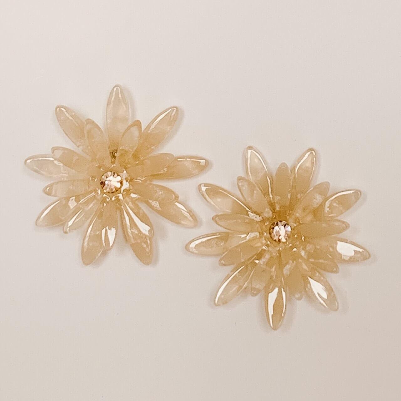 White Acetate Flower Earring