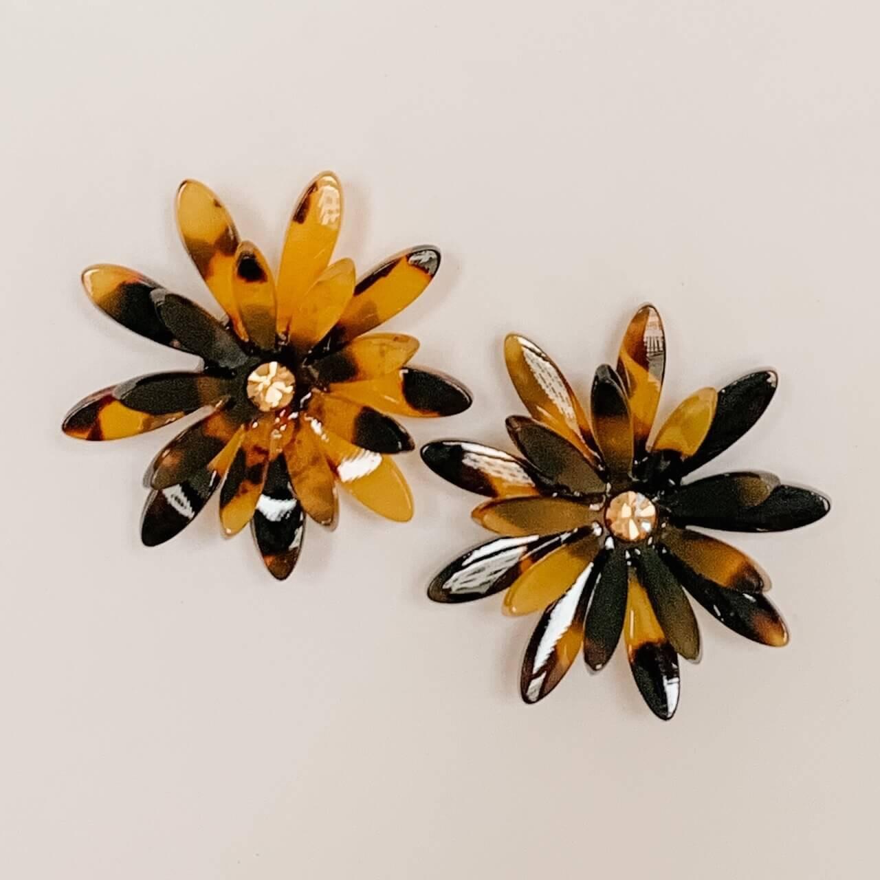 Brown Acetate Flower Earring