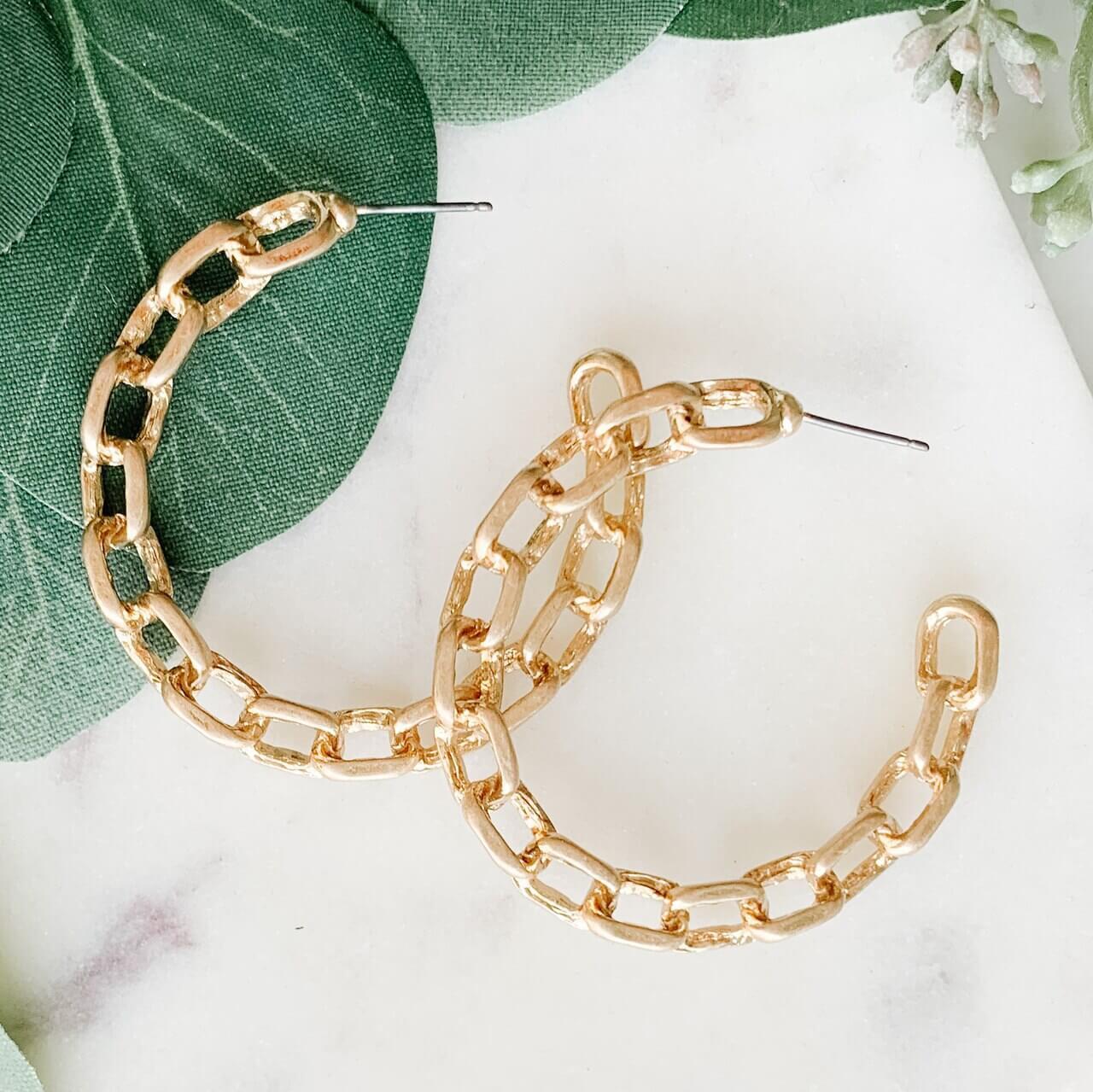 Gold Chain Link Hoop Earring