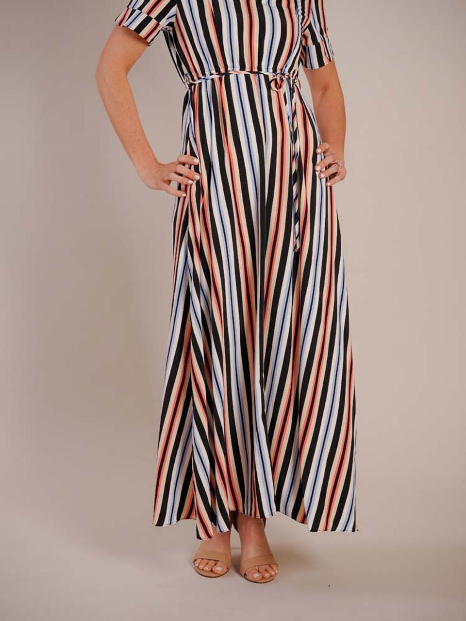 Molly Bracken maxi striped dress black coral blue