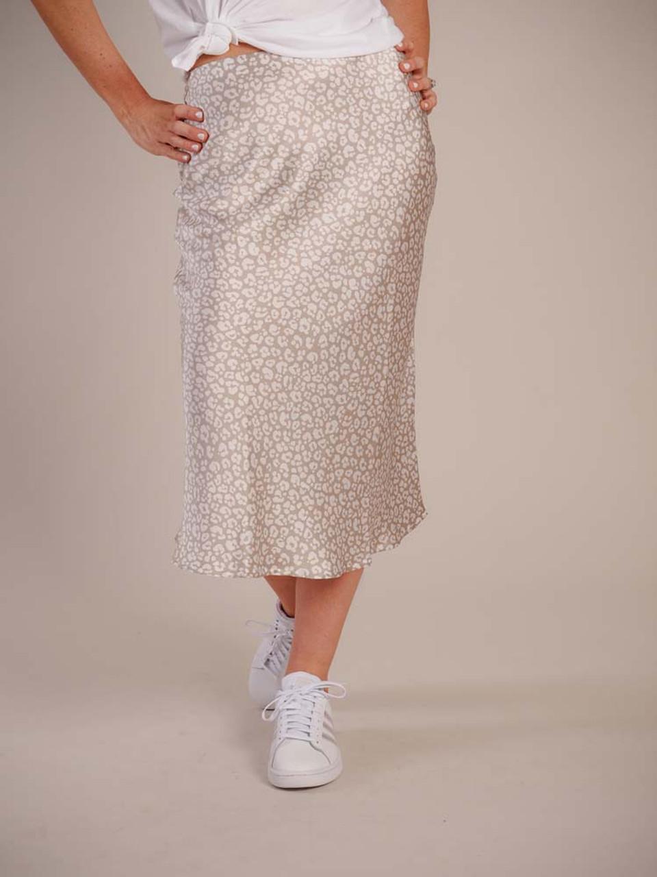 mudpie midi skirt taupe and cram leopard print