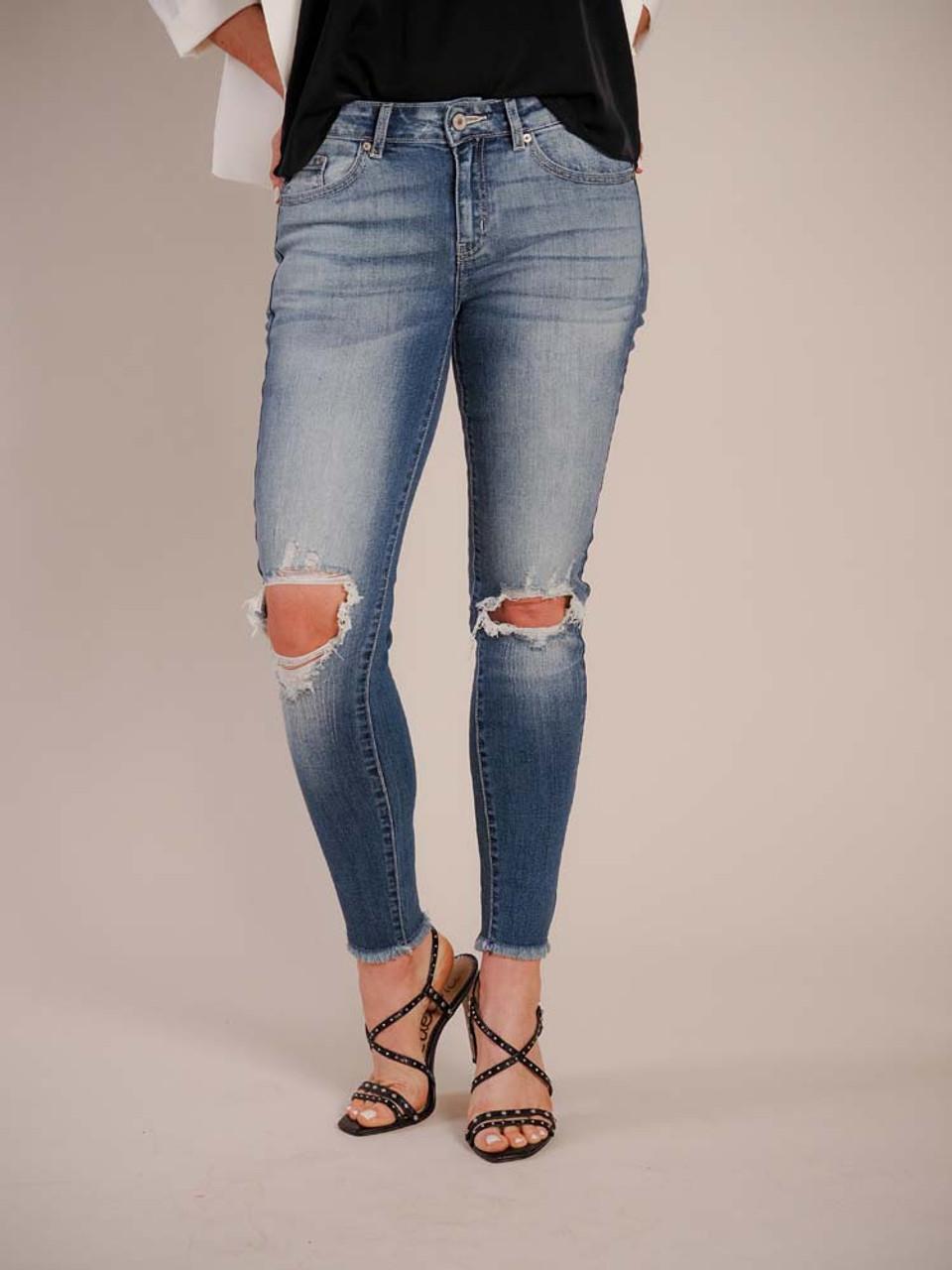 kancan medium wash distress jeans