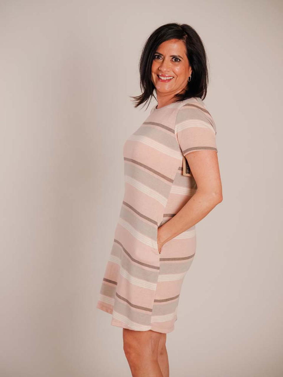 staccato terry striped dress peach grey