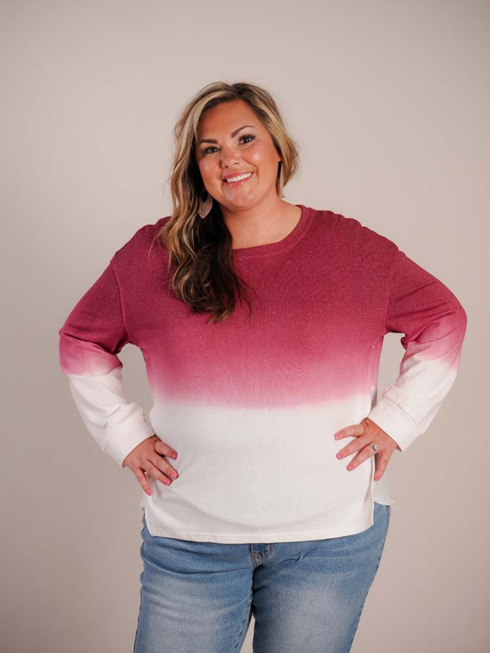 Deep heather rose to cream ombre top. Front, sleeves, and top 2/3 of back are lightweight terry and bottom 1/3 of back is lighweight flowy woven rayon. Slightly wide crew neck, and long sleeves cuffed at wrists