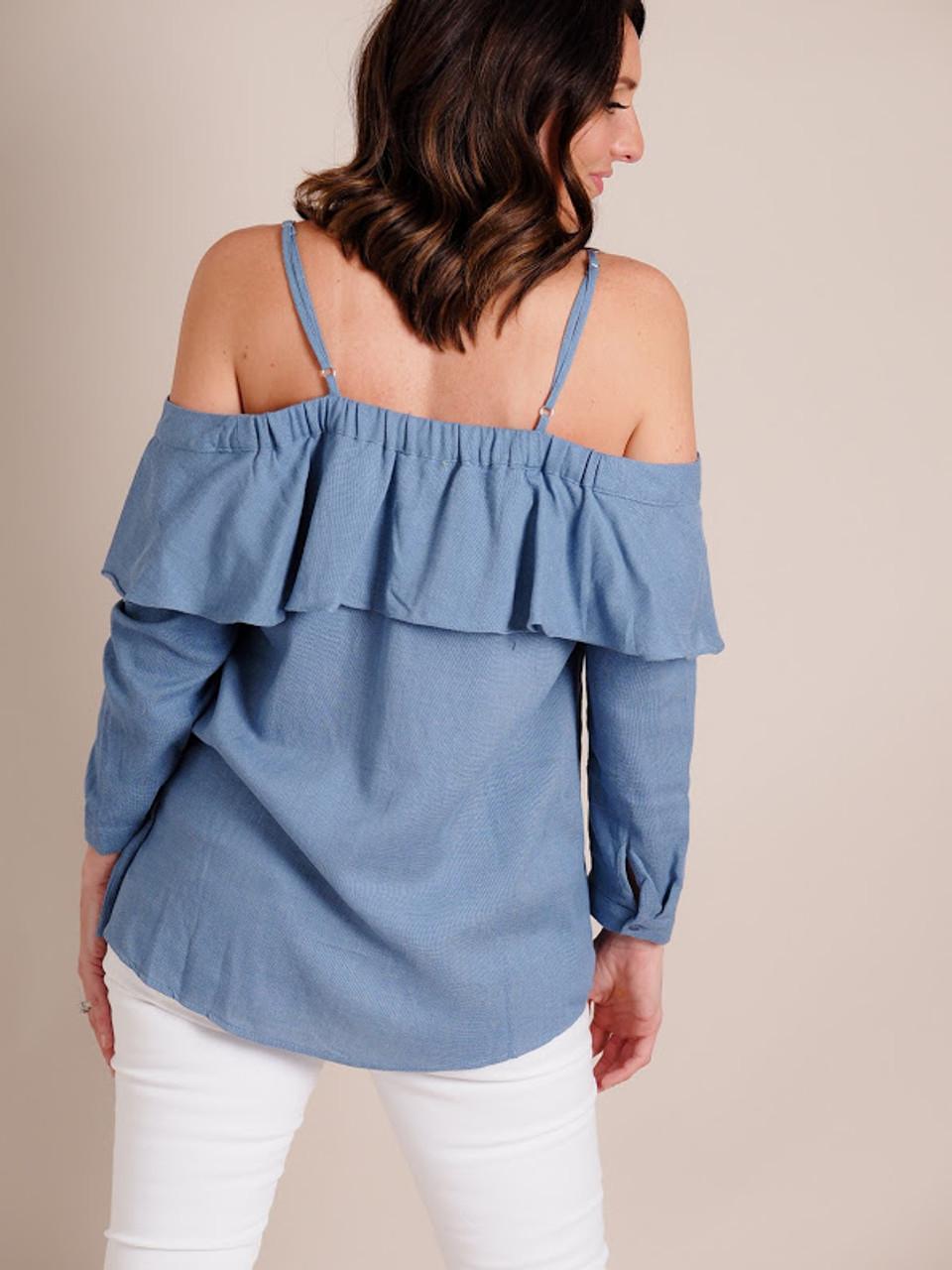 Cold Shoulder Button Down Blouse