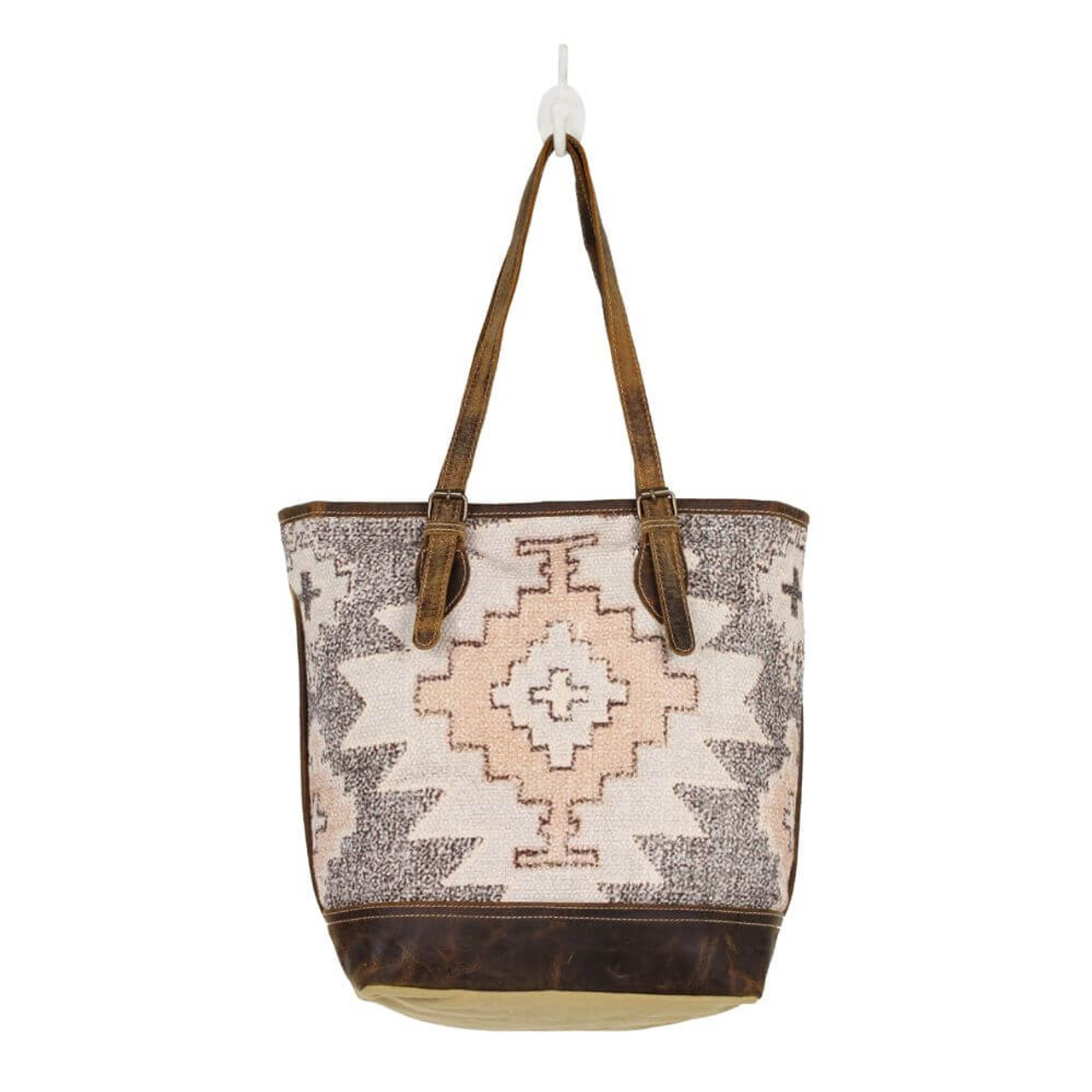 Simple yet elegant! Superbly printed rug mingled with weathered leather details. Mustard colored canvas back. Adjustable straps, zipper close at top, zipper pocket on back. Interior is fully lined and has one zipper pocket and two slip pockets.