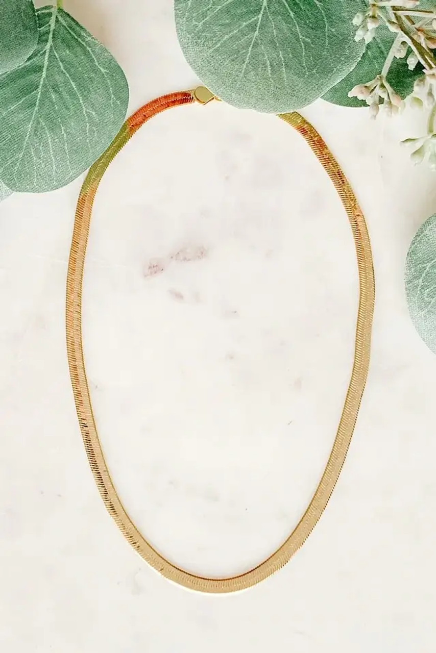 """15"""" long, 1/6"""" wide gold tone herringbone collar necklace with lobster claw close. Nickel and lead free."""