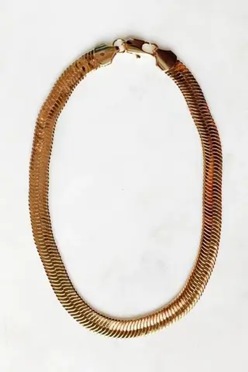 """15"""" long, 3/8"""" wide gold tone herringbone collar necklace with lobster claw close. Nickel and lead free."""