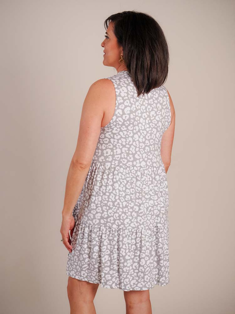 grey and white leopard print three tiered sleeveless dress Mudpie