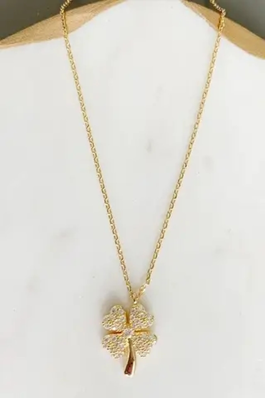 """Pretty AND lucky! White gold-dipped brass and cubic zirconia 5/8"""" charm on delicate chain adjustable from 15.5""""-17.5"""" with lobsterclaw clasp."""