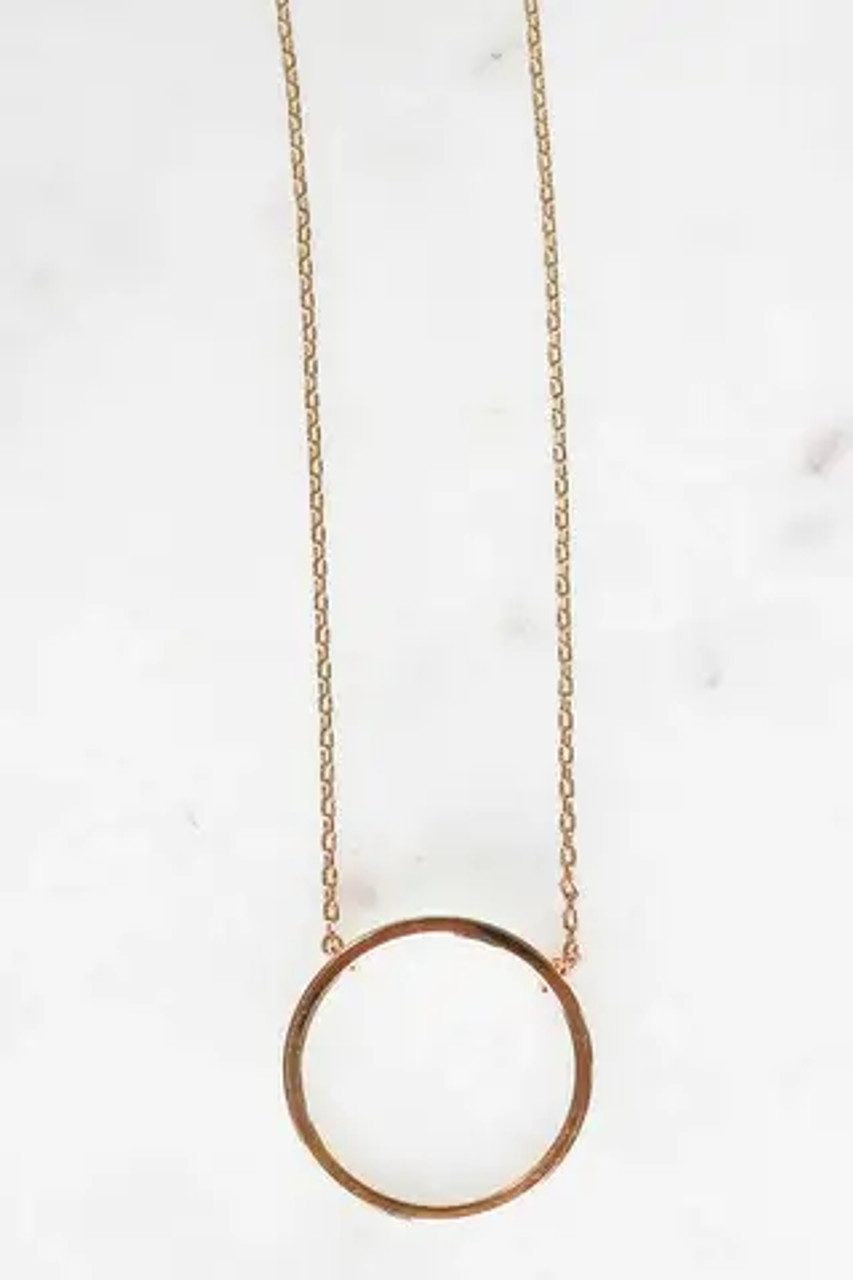 """Gold dipped 3/4"""" circle charm on dainty chain that is adjustable from 15.5""""-17.5"""". Lobsterclaw clasp. Nickel and lead free."""