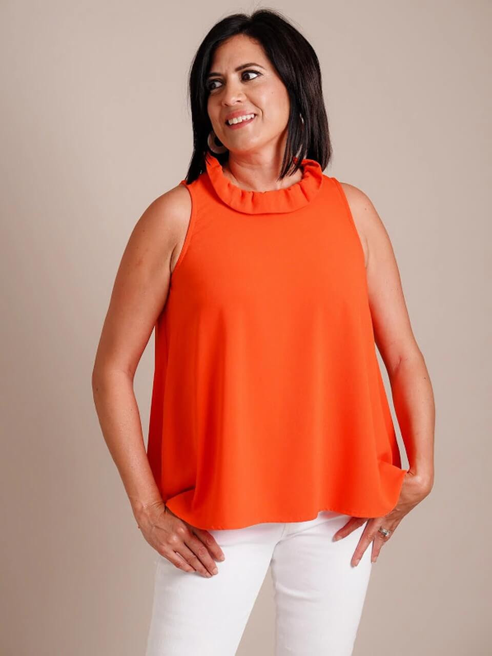 sleeveless top orange blue ruffle neck tie back