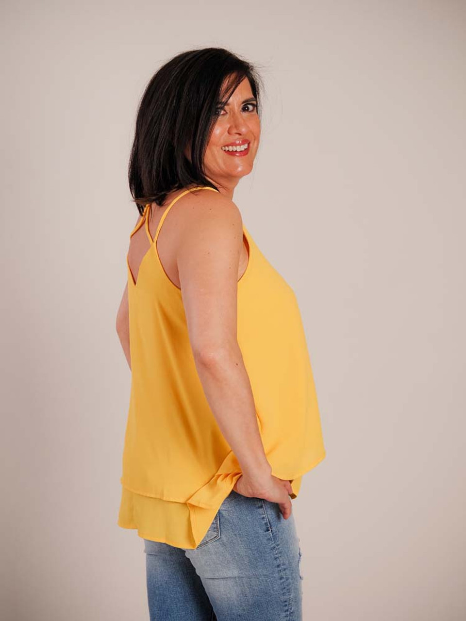 yellow criss cross back double layer tank top