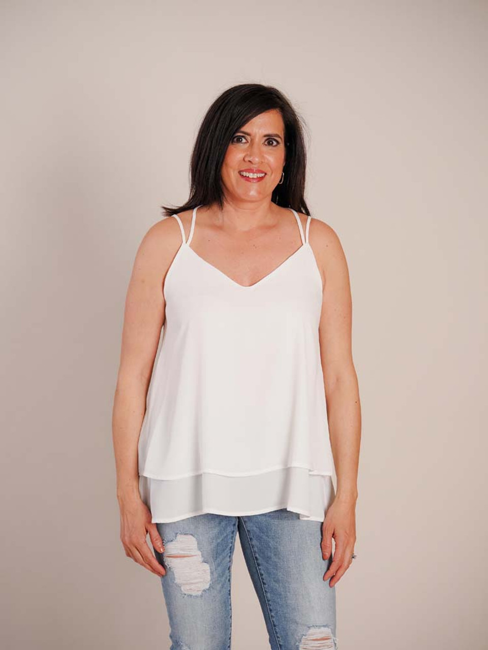ivory criss cross double layer tank top