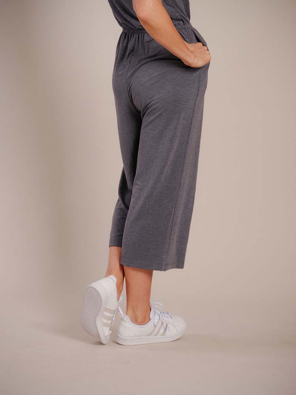 grey jumpsuit with elastic waist and side pockets Mudpie