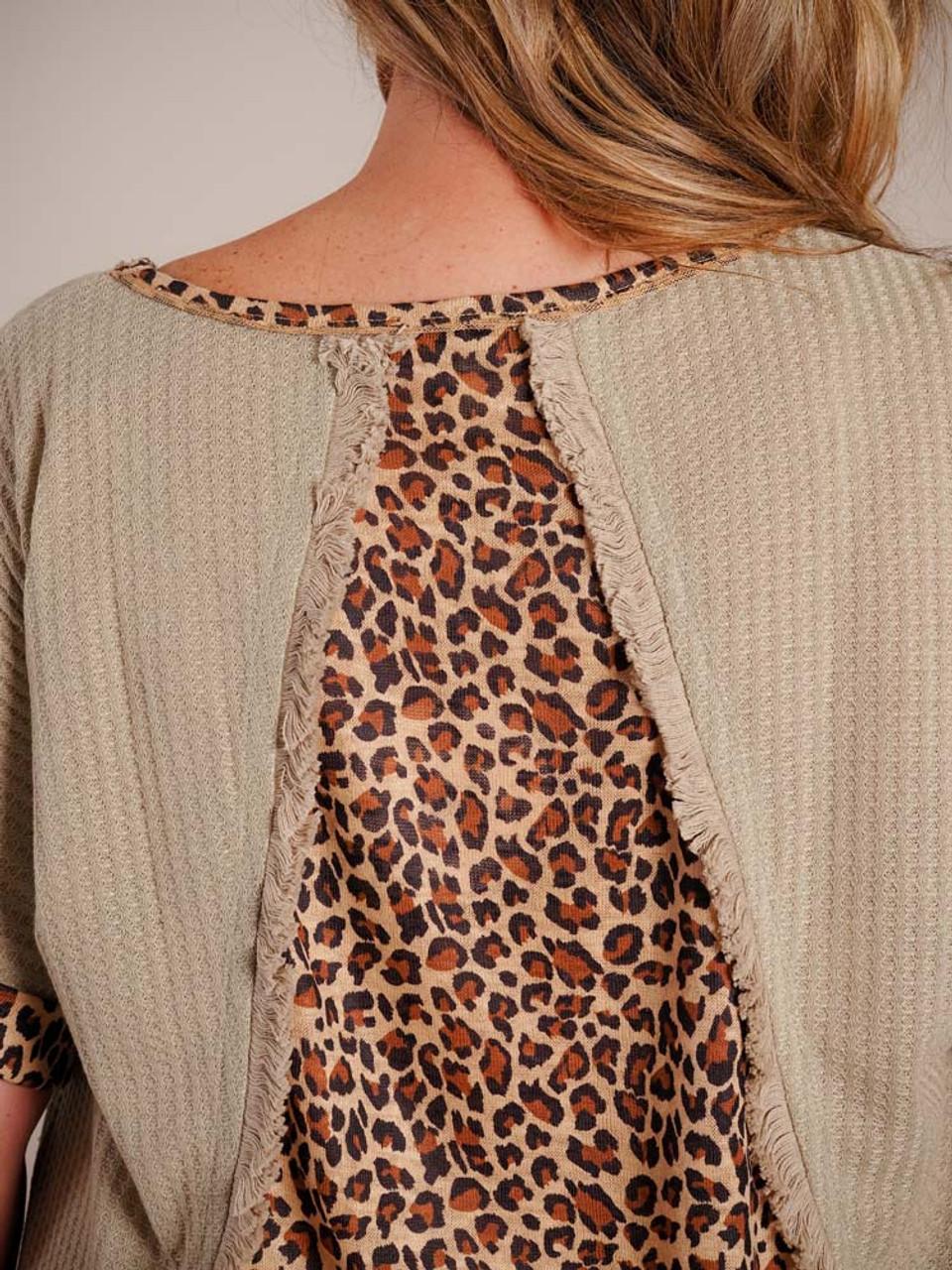 sage green leopard print top Umgee plus clothing curvy