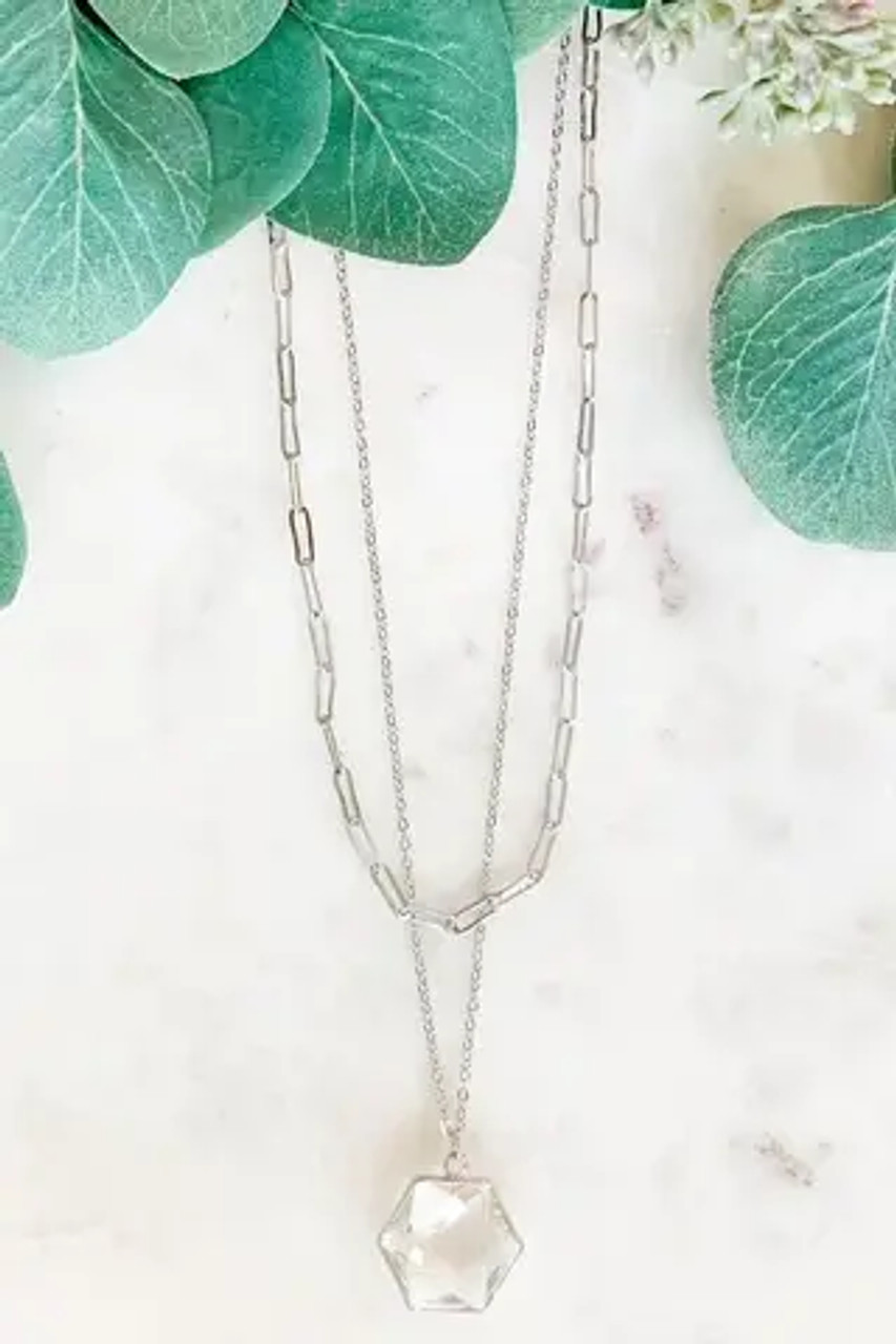 """Paperclip style oval chain link necklace is adjustable from 16.5""""-19.5""""; longer dainty chain drops an additional inch and holds a 3/4"""" clear crystal charm that is cut to sparkle! Includes petite silver tone hook earrings with a shiny silvery bead on each; .25"""" drop. Nickel and lead free."""