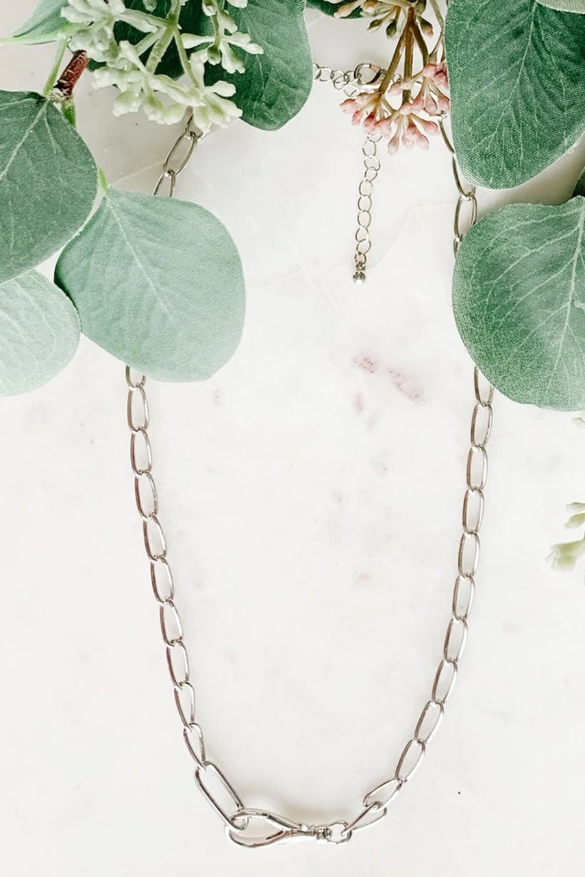 Silver Chain Necklace with Front Clasp