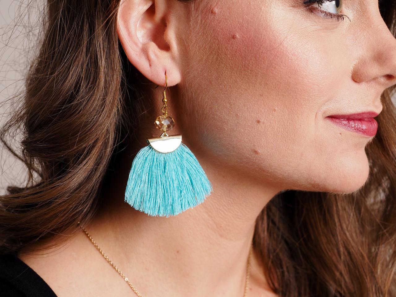Viva La Fiesta Turquoise Crystal Tassel Earring