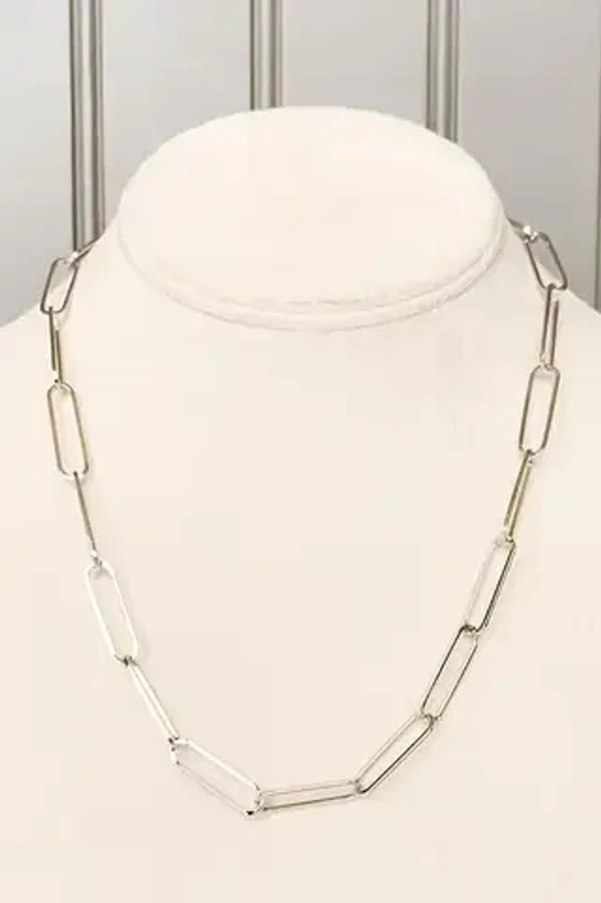 """Paperclip shaped links. Adjustable from 16.5:-19.5"""" with lobsterclaw clasp. Nickel and lead free."""