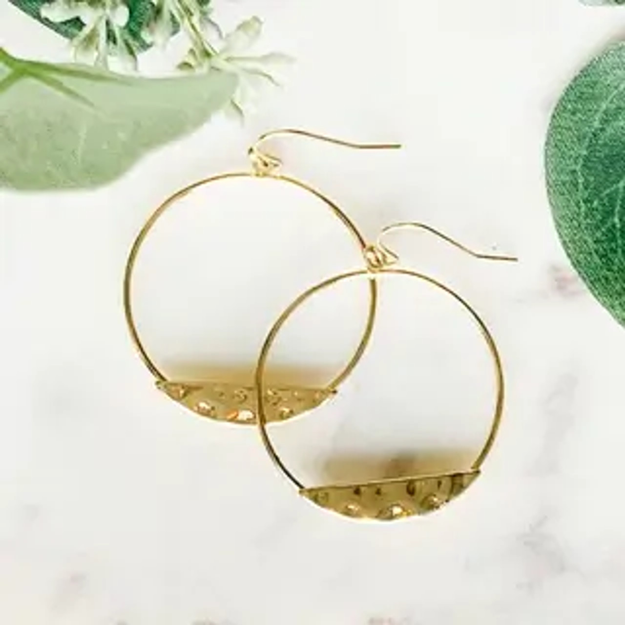 """1 3/8"""" circle earrings with hammered sliver detail. Hook earrings"""