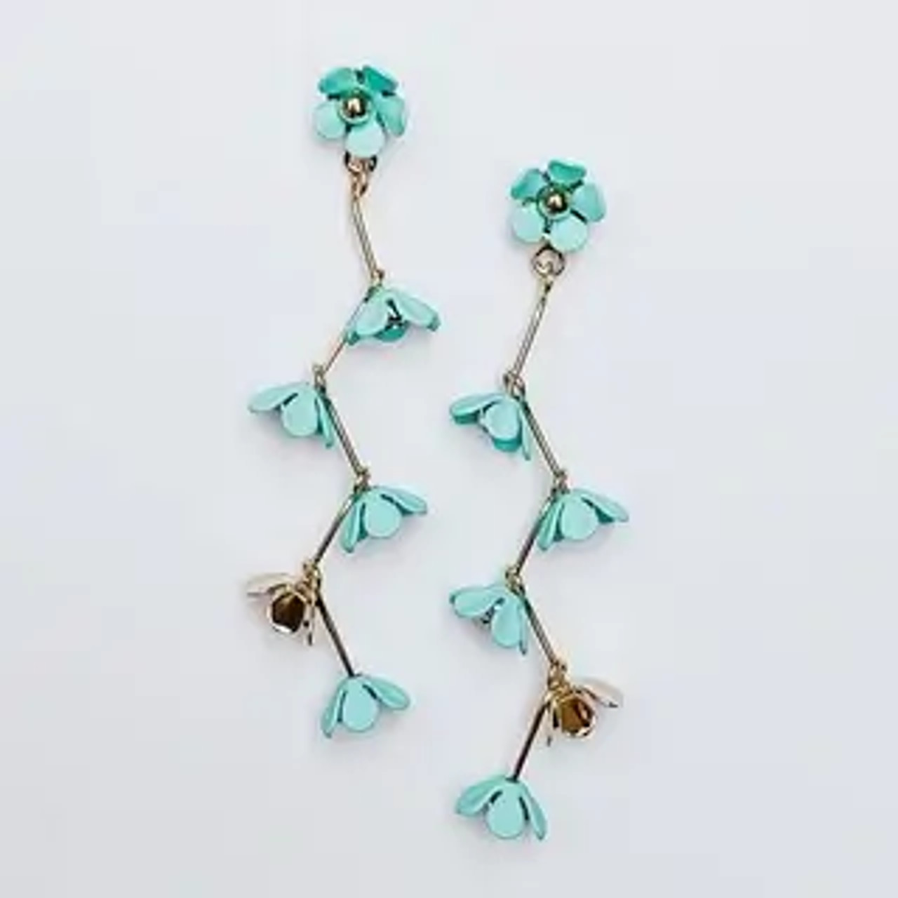"""Delicate turquoise and gold flowers dangling from gold tone links. 2 1/4"""" drop from post backs"""
