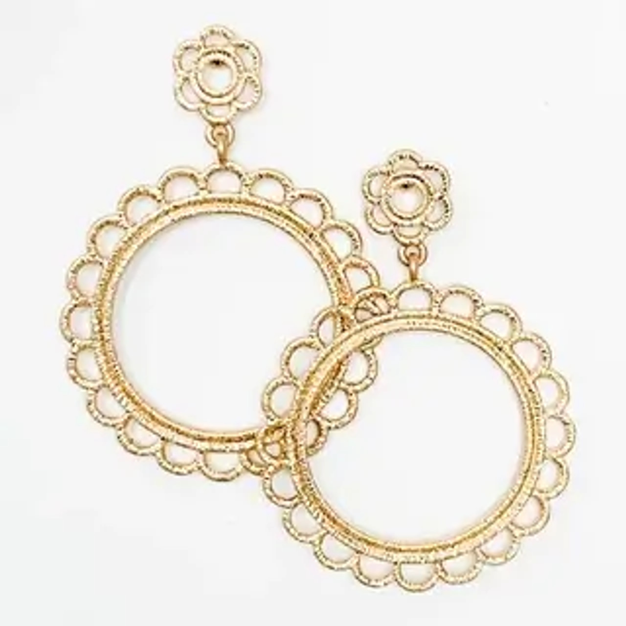 """Metal earrings with thread wrapped lace look. 2 1/5"""" drop from post backs"""