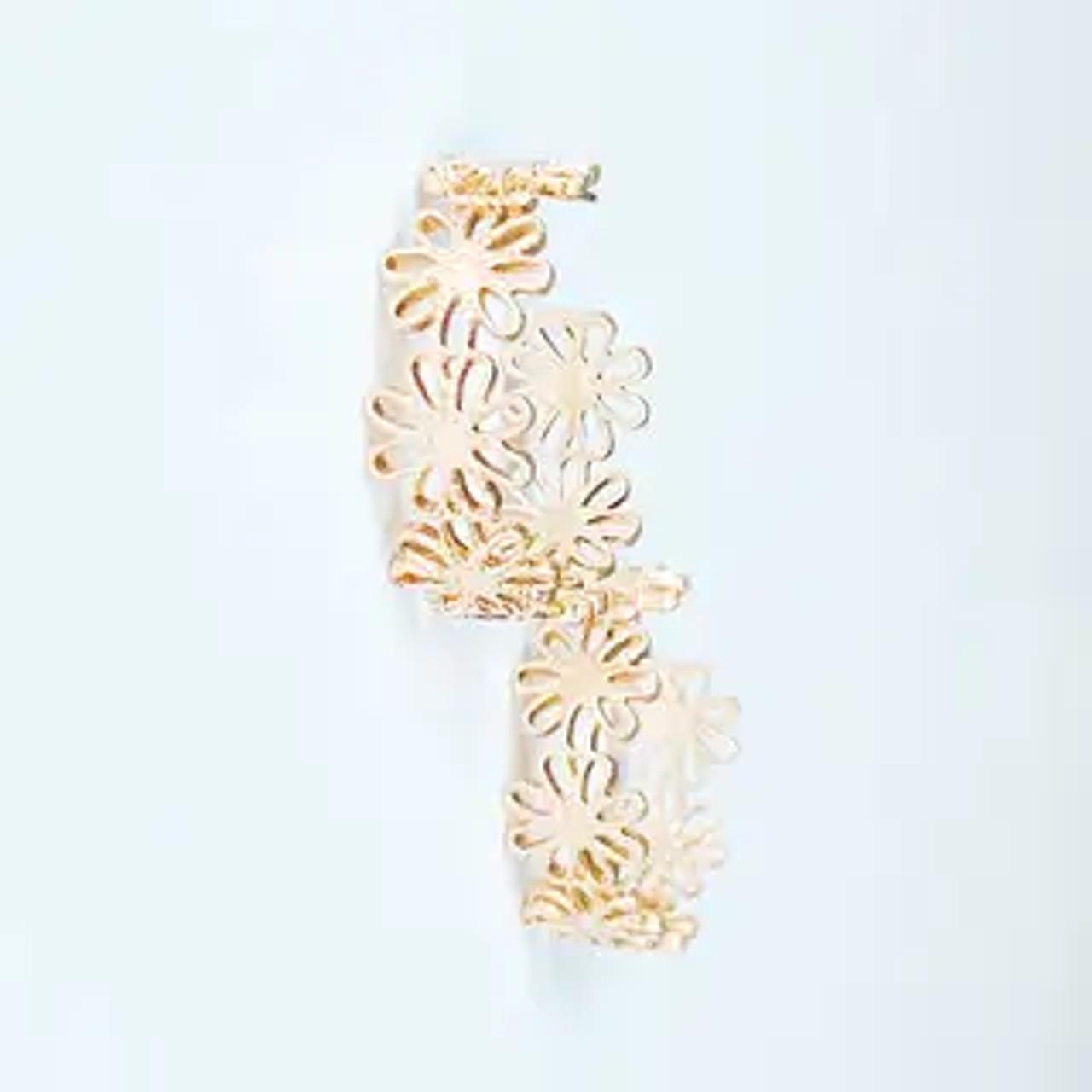 "Textured golden 7/8"" hoops of flowers. Post backs"
