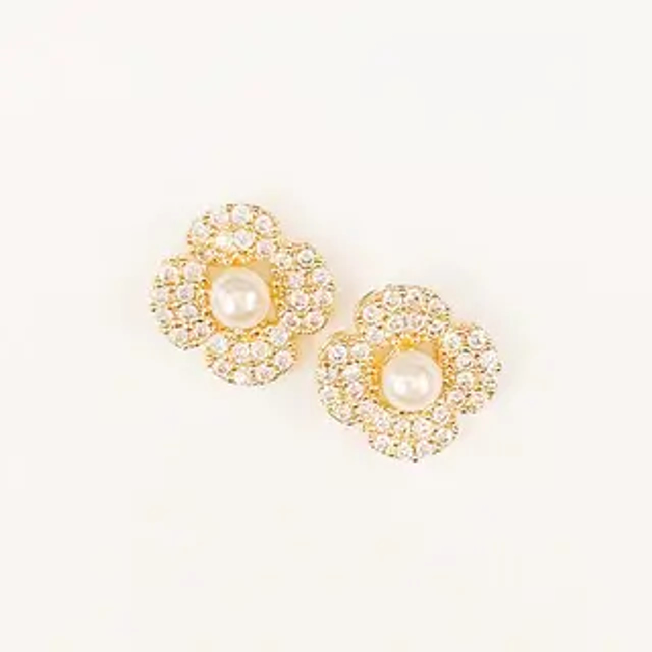 """Petite sparkly flowers with pearly bead centers. Gold dipped; 3/8""""; post back"""
