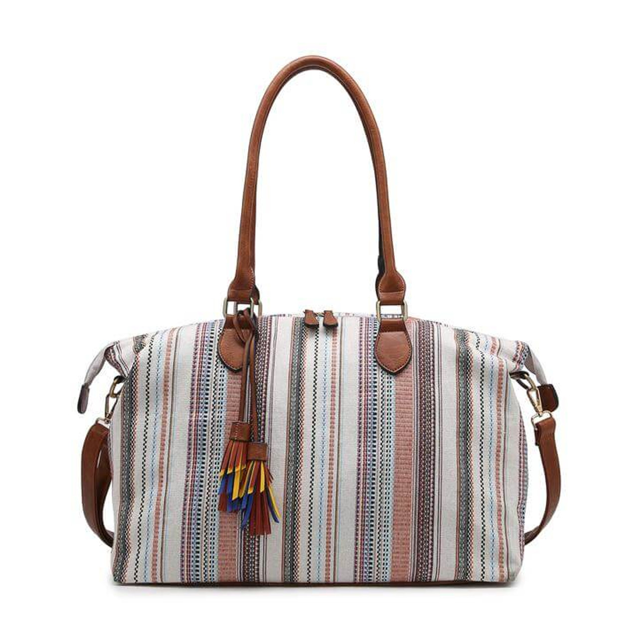 multi-color canvas duffel bag! The base, handles, and details are vegan leather. Includes one zip and two slip pockets on the inside and one back zip pocket. The top zips closed and an adjustable/detachable shoulder strap is included