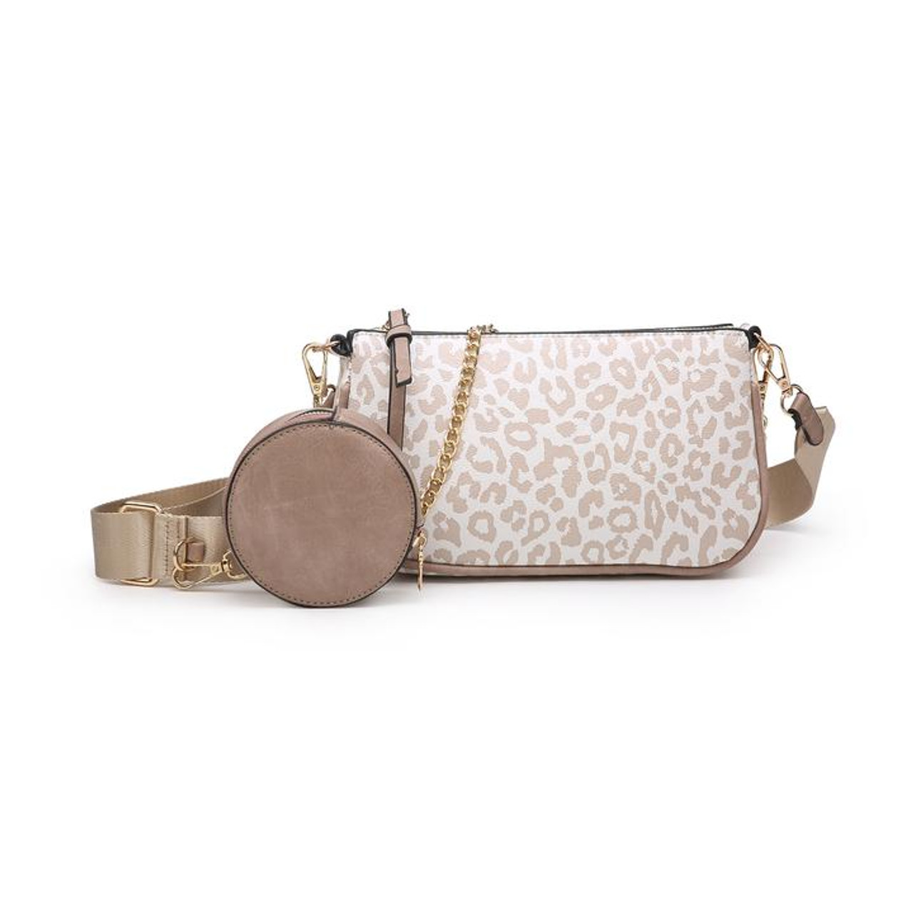 Marina is a high-end, versatile piece. Wear it with the chain or with the adjustable nylon strap--both are removable! The nylon strap includes a circular coin pouch that can also be removed. Features gold tone hardware and an inside zipper pocket.