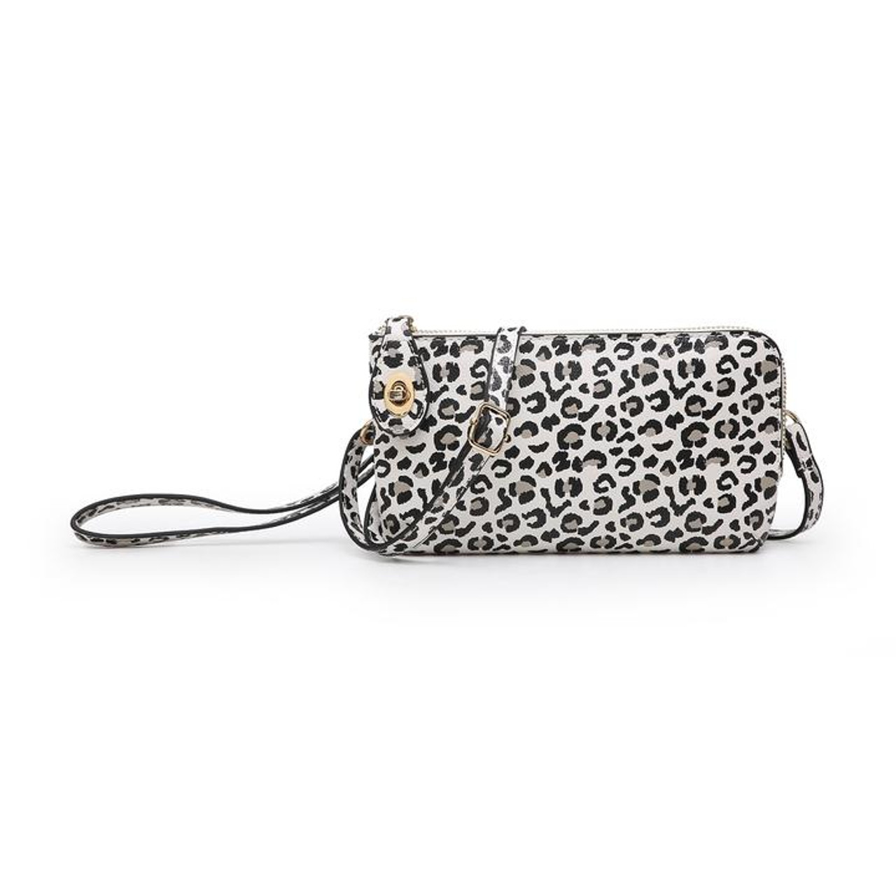 Vegan leather clutch comes with a detachable wristlet strap and an adjustable/detachable shoulder strap. Inside has 6 credit card slip pockets and a larger slip pocket on the opposite side. Zipper close opens at top and 3/4 of the way down one side and has a twist lock to secure the zipper pull.