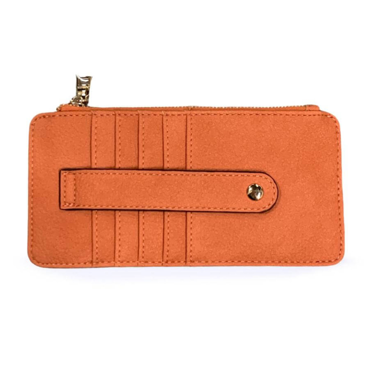 Saige features multiple card holders, and ID holder, and a zipper change pouch. The snap keeps your card secure