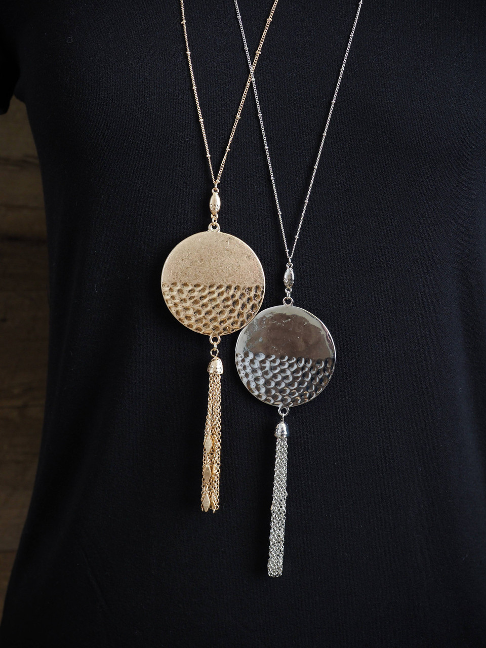 Long Necklace With Hammered Pendant