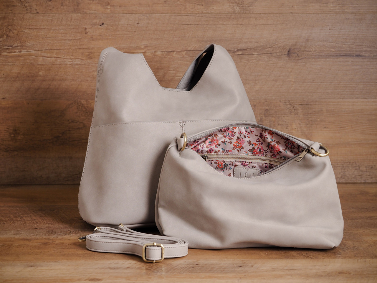 Slouchy Leather Purse in Dusty Rose