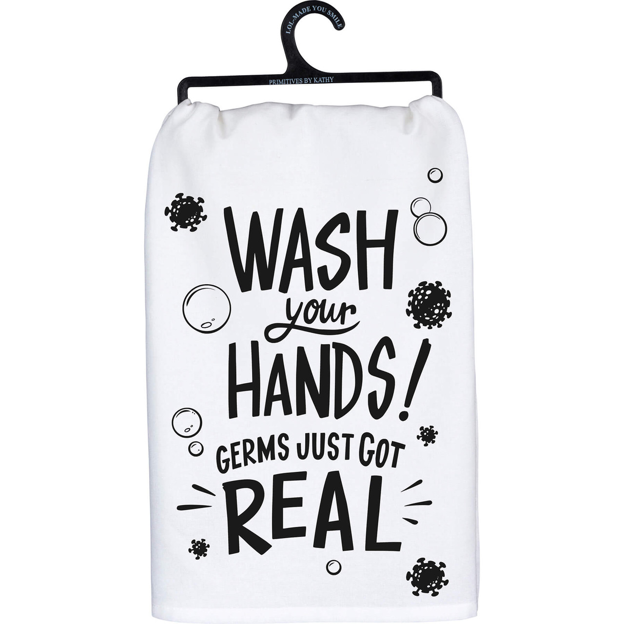 """Wash your hands! Germs just got real. Hand lettered sentiment that complements any kitchen or bar decor. Printed decoration on 28"""" x 18"""" 100% cotton. Machine wash hot with like colors; non-chlorine bleach; tumble dry low; medium heat iron."""