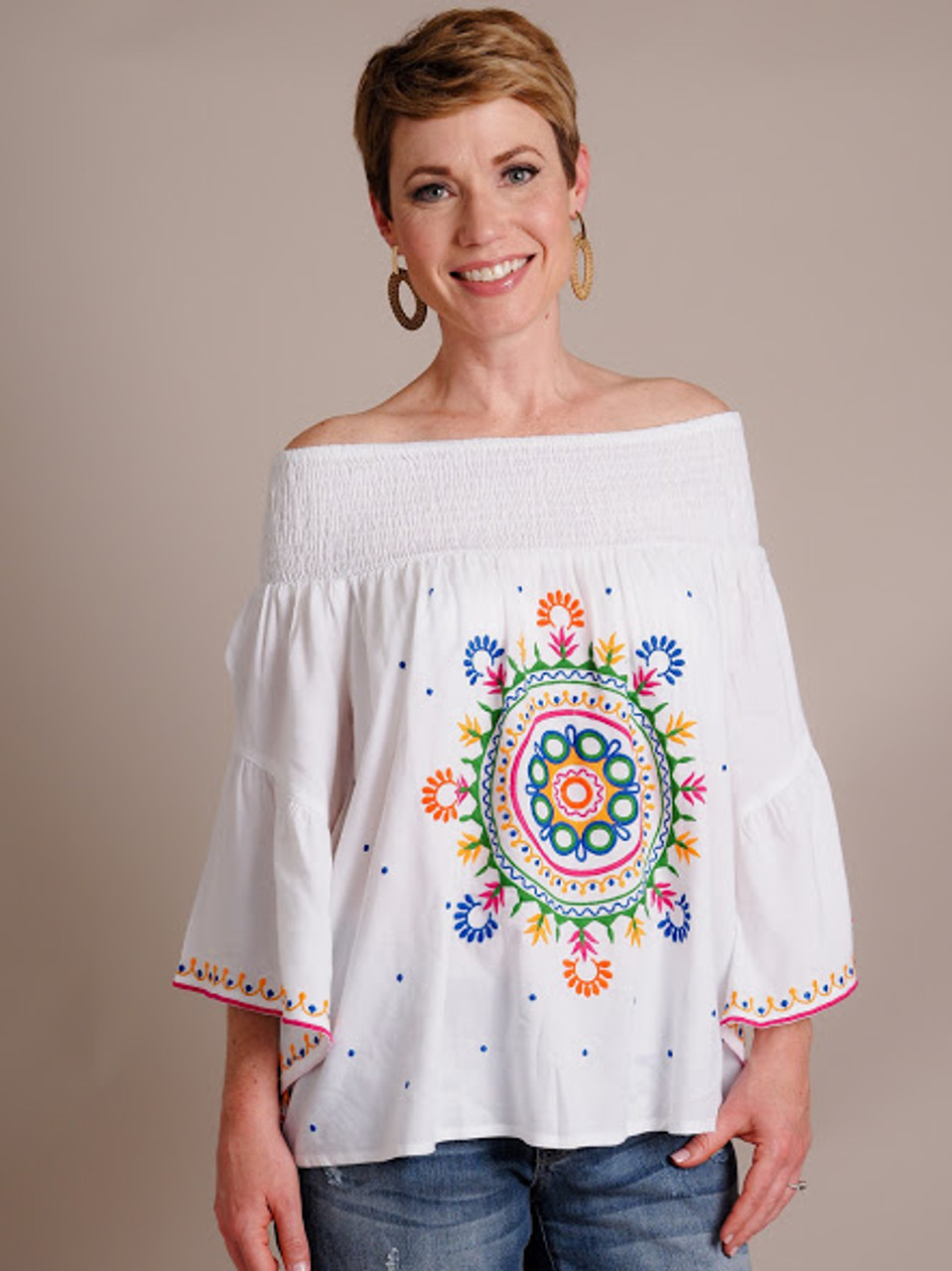 Teddi Off The Shoulder Embroidered Top
