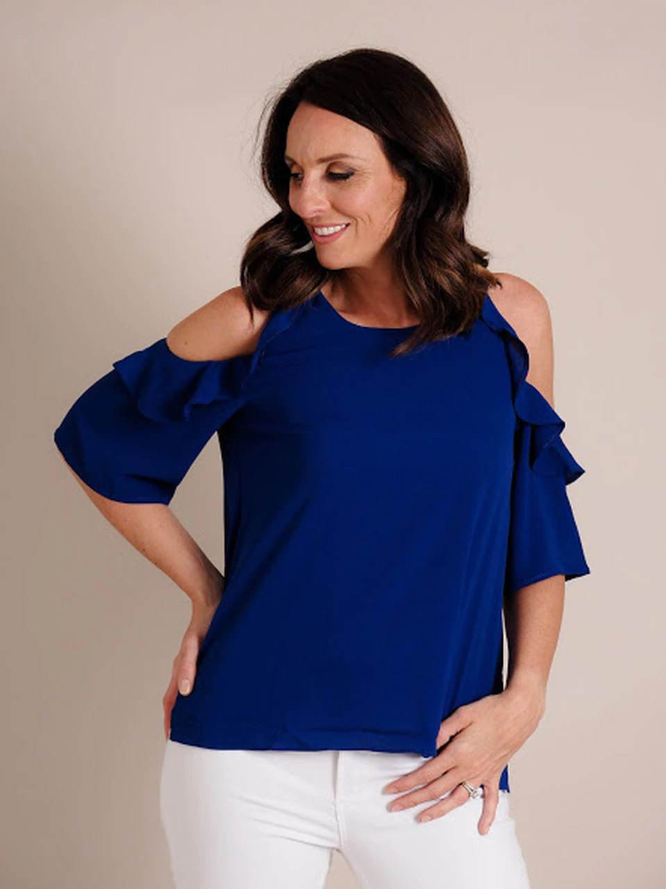Cold Shoulder Blouse with Ruffle Detail