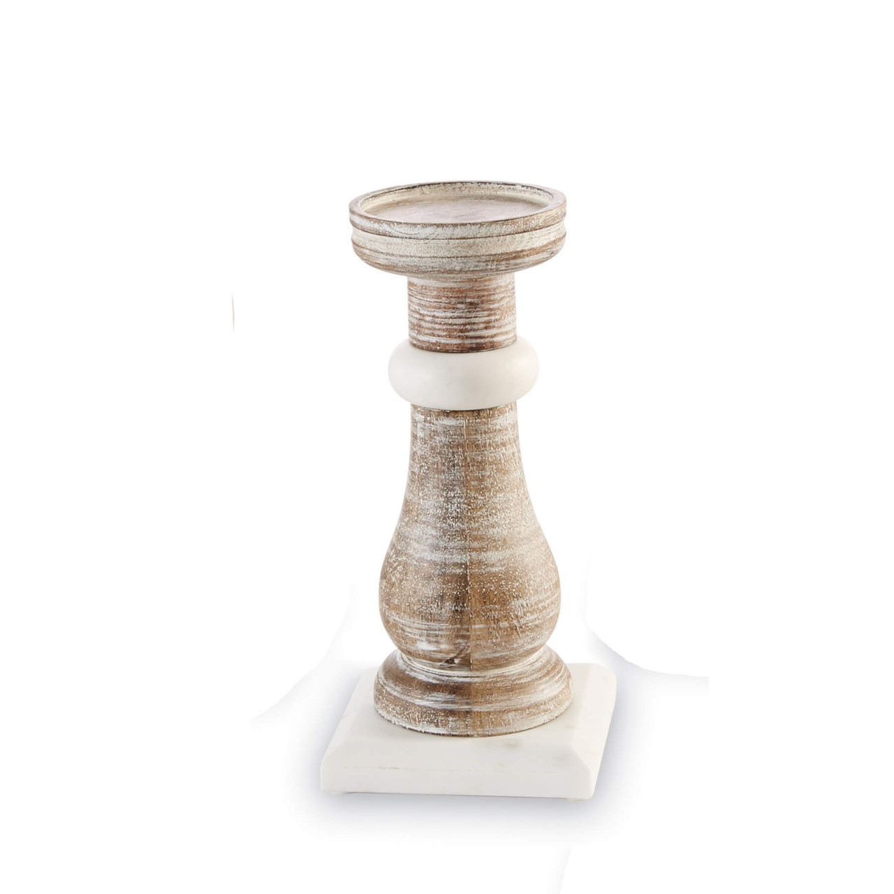 """Hand-turned 9.5"""" Mango wood candleholder features 4.5"""" square white marble accents and base."""