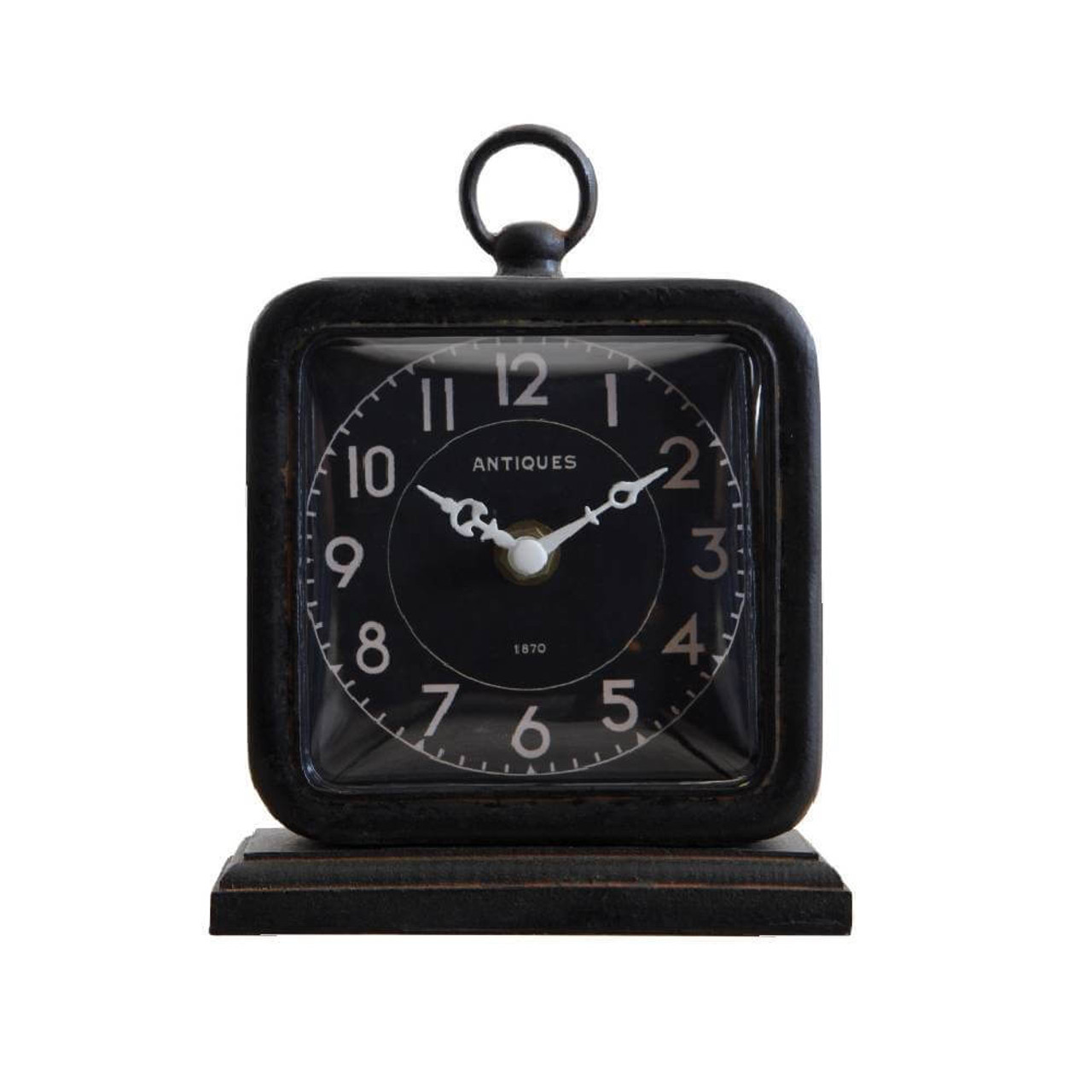 """This pewter table clock, featuring a matte black finish, will compliment any decor. 5"""" W x 6.25""""H. Requires one AA battery (not included)."""