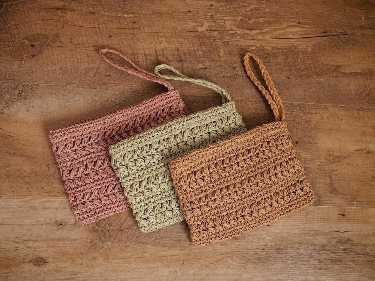 Three Colors of Woven Straw Wristlets
