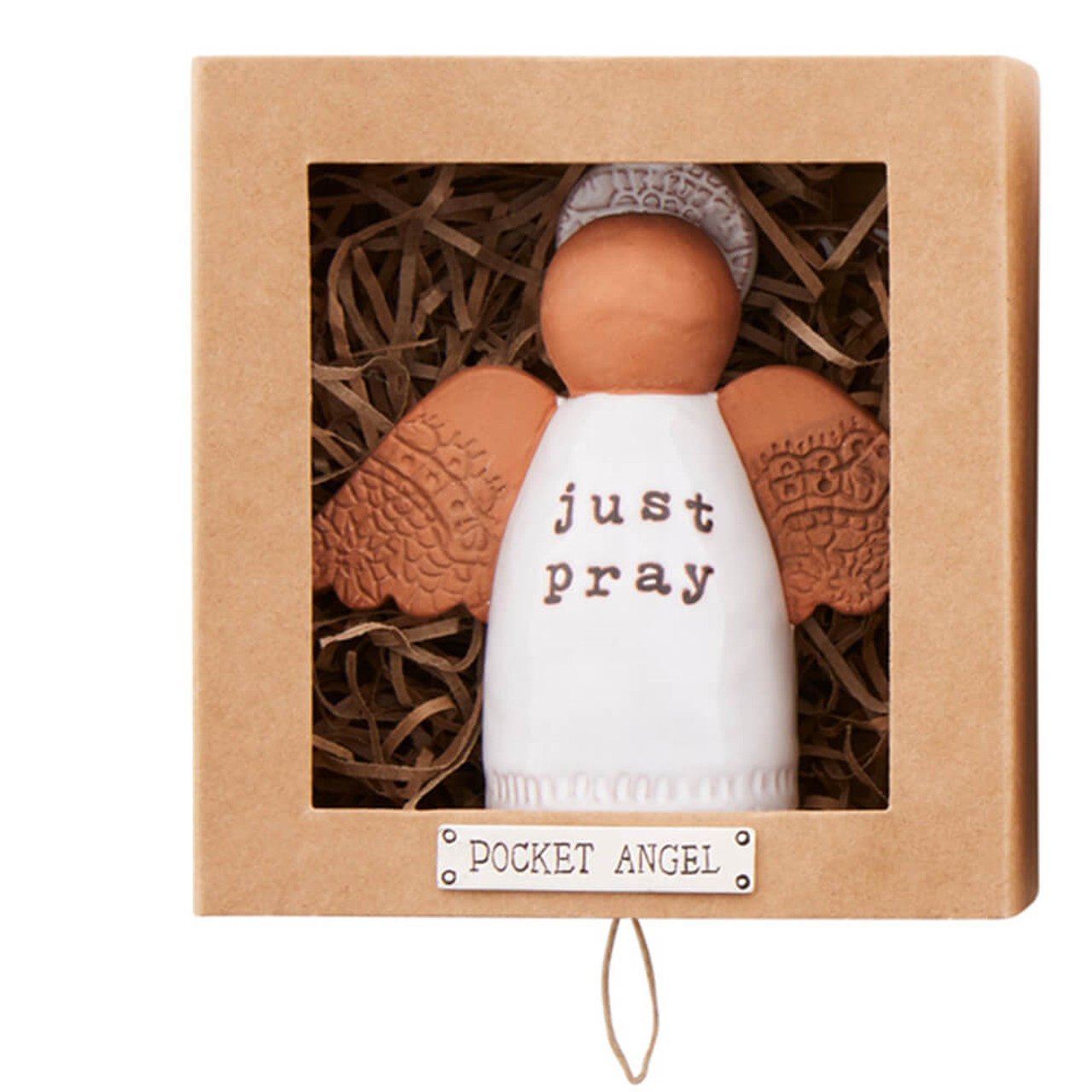 """Terracotta angel with """"just pray"""" sentiment on her glaze painted dress. She is approx 3.5"""" tall x 4"""" wide including her stamped clay wings. She arrives in a 4.75' tall x 4.5' wide x 2.25' deep gift box."""