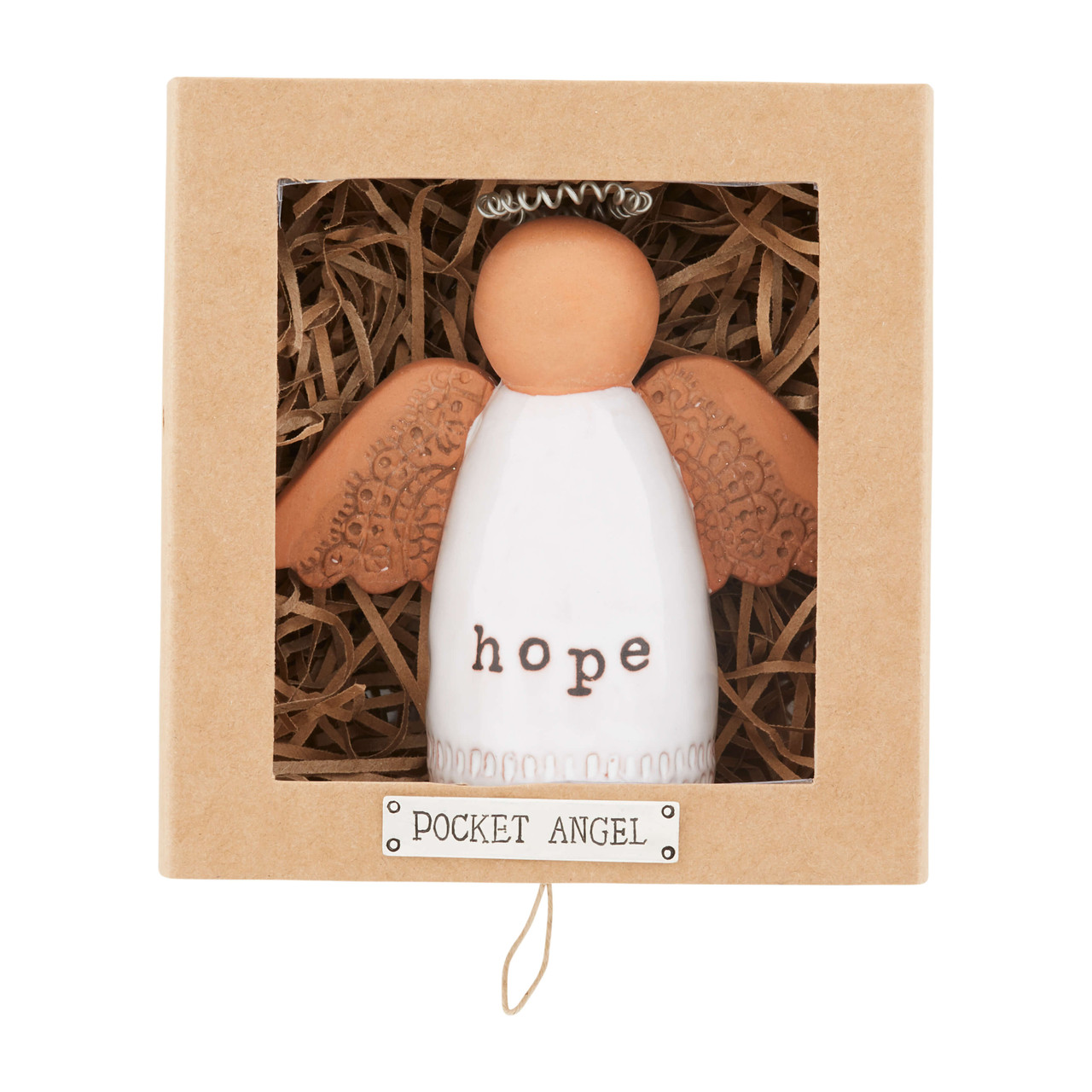"""Terracotta angel with """"hope"""" sentiment on her glaze painted dress. She is approx 3.5"""" tall x 4"""" wide including her stamped clay wings. She arrives in a 4.75' tall x 4.5' wide x 2.25' deep gift box."""