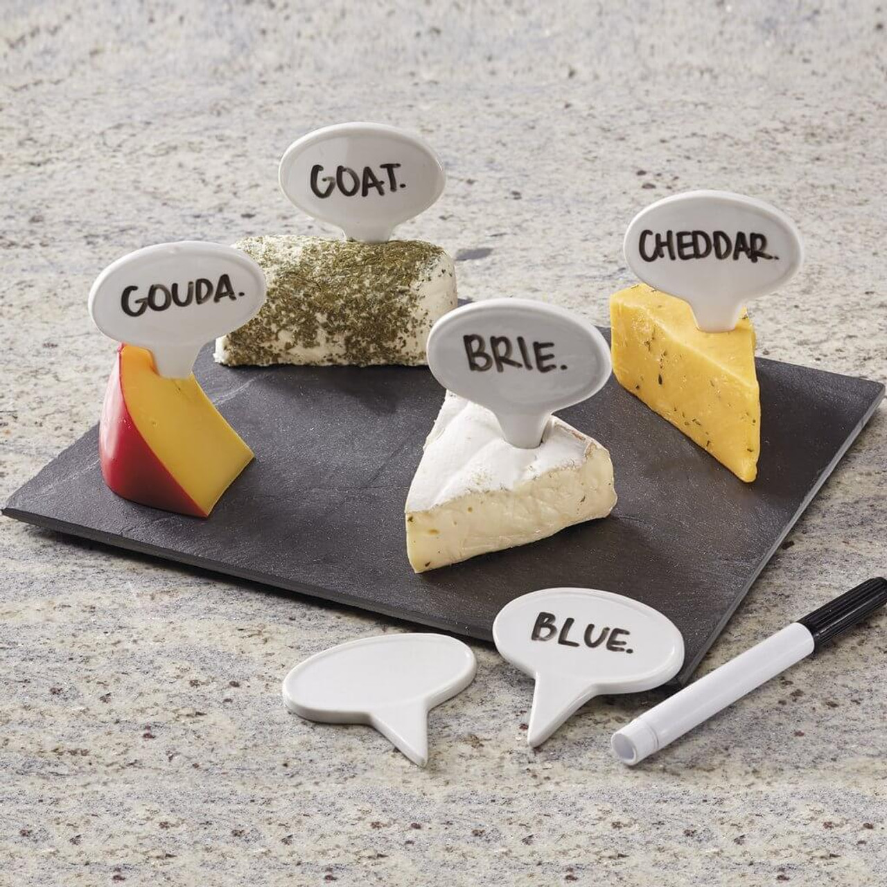 """Have fun labeling your cheeses and displaying them on the slate board for your party guests! Say cheese-board :) with 6 porcelain markers. Dry erase pen included.  Slate board: 10.25 x 7.75"""", Porcelain markers: 2.75 x 2.75"""". Dishwasher safe."""