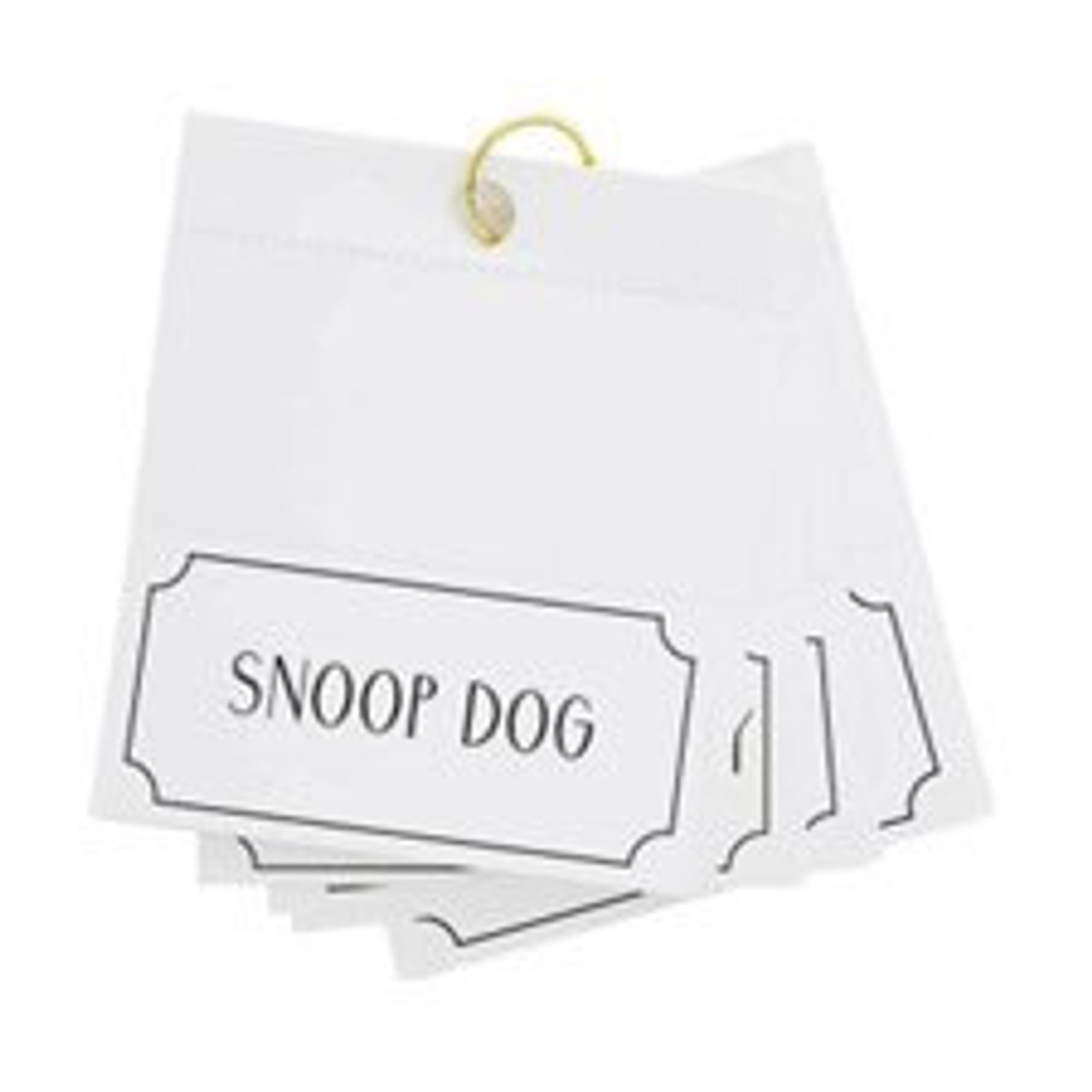 """Bring some laughs and rock & roll to your next dinner party with a set of male rockstar place cards. Folded cards measure 2 3/8"""" H x 4 3/4"""" W.  This set of 24 cards features some of the most recognized names from the concert stage including Snoop Dog, Elton John, Bono, Eric Clapton, John Lennon, Jon Bon Jovi, Freddie Mercury, Bob Dylan, Ringo Starr, Mick Jagger, Paul McCartney, Ed Sheeran, David Bowie, Phil Collins, Kanye West, Stevie Wonder, Ice Cube, The Weekend, Jay Z, Drake, Bruno Mars, Prince, Bruce Springsteen, Alice Cooper"""